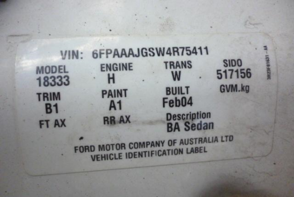 2004 FORD FALCON BA THROTTLE BODY MPEFI