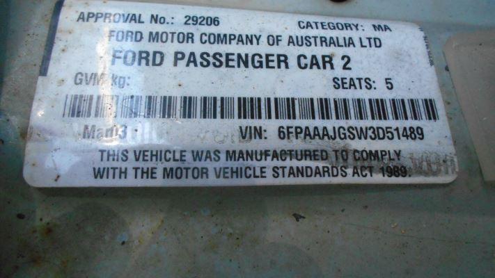 2003 FORD FALCON BA FUTURA (LPG) 4 SP AUTO SEQ SPORTS 4.0L LPG DIFF COMPLETE REAR