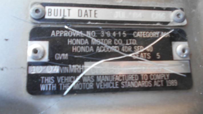 2004 HONDA ACCORD 40 VTi 5 SP AUTOMATIC 2.4L MULTI POINT F/INJ BAR COVER FRONT