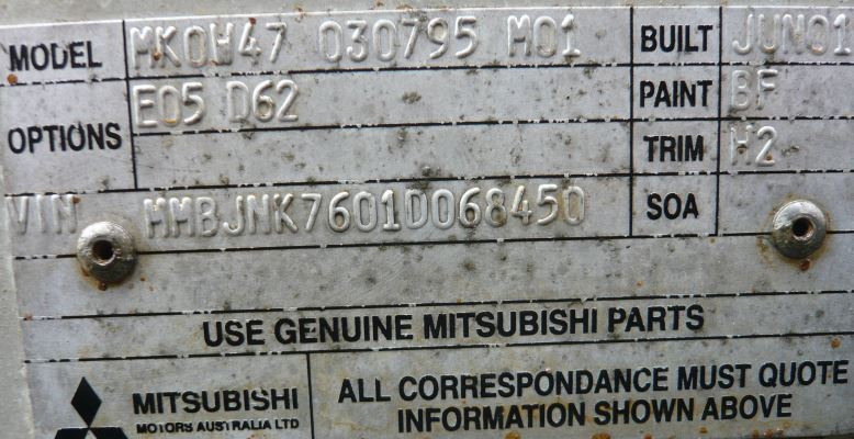 2001 Mitsubishi Triton Mk Glx  4x4  5 Sp Manual 4x4 3 0l